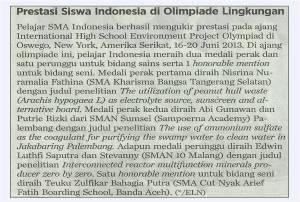Prestasi Siswa Indonesia di Olimpiade Lingkungan - Kompas